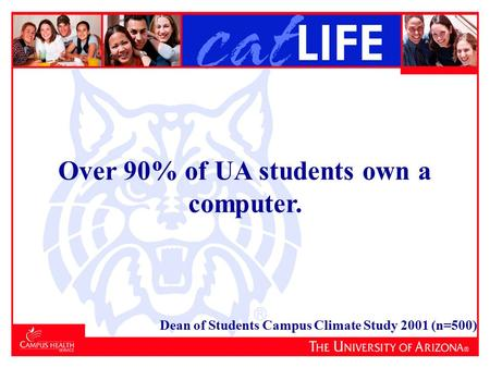 Over 90% of UA students own a computer. Dean of Students Campus Climate Study 2001 (n=500)
