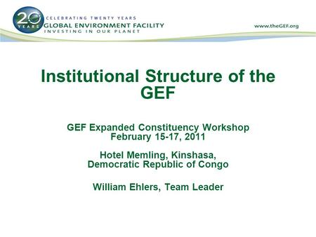 Institutional Structure of the GEF GEF Expanded Constituency Workshop February 15-17, 2011 Hotel Memling, Kinshasa, Democratic Republic of Congo William.