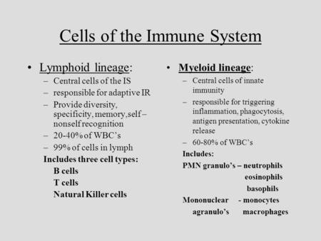 Cells of the Immune System Lymphoid lineage: –Central cells of the IS –responsible for adaptive IR –Provide diversity, specificity, memory,self – nonself.