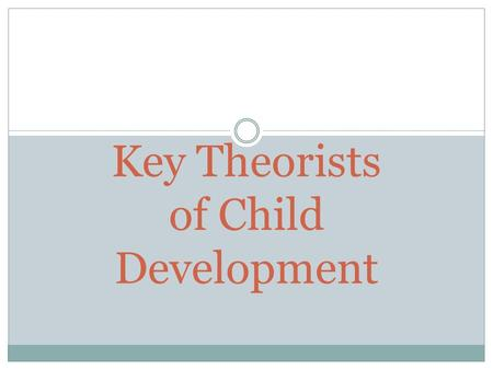 Key Theorists of Child Development. Sigmund Freud 1856-1939 Believed personality develops through a series of stages Experiences in childhood will affect.
