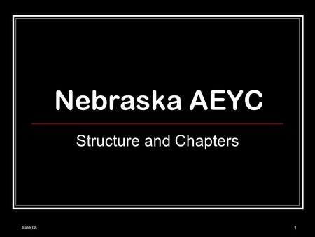 June,08 1 Nebraska AEYC Structure and Chapters. June, 082 National Association for the Education of Young Children Largest organization working on behalf.