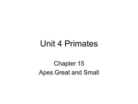 Unit 4 Primates Chapter 15 Apes Great and Small. Swingers: Gibbons Rainforest Arboreal Eat fruits, leaves, eggs Coat and facial colors Vocal patterns.