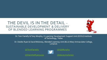 THE DEVIL IS IN THE DETAIL - SUSTAINABLE DEVELOPMENT & DELIVERY OF BLENDED LEARNING PROGRAMMES Dr. Tom Farrelly & Tony Murphy, E-Learning Development Support.