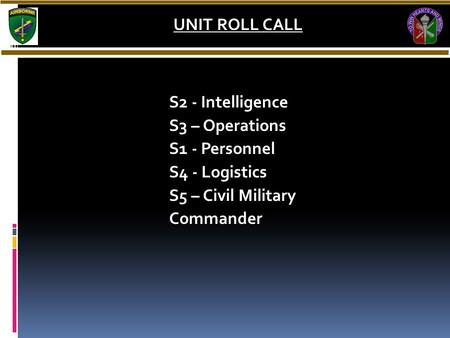 S2 - Intelligence S3 – Operations S1 - Personnel S4 - Logistics S5 – Civil Military Commander UNIT ROLL CALL.
