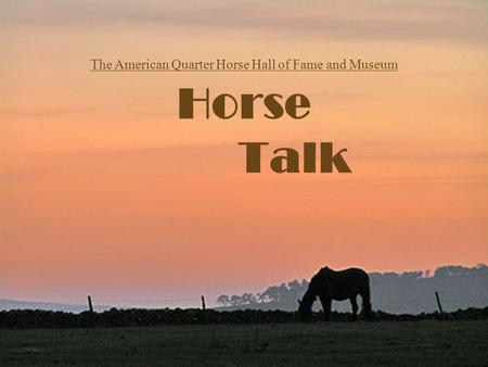 Horse Talk The American Quarter Horse Hall of Fame and Museum.