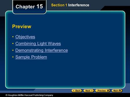 Chapter 15 Preview Objectives Combining Light Waves