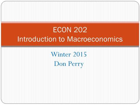 Winter 2015 Don Perry ECON 202 Introduction to Macroeconomics.