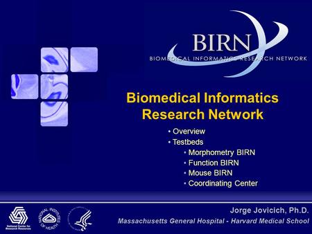 Jorge Jovicich, Ph.D. Massachusetts General Hospital - Harvard Medical School Biomedical Informatics Research Network Overview Testbeds Morphometry BIRN.