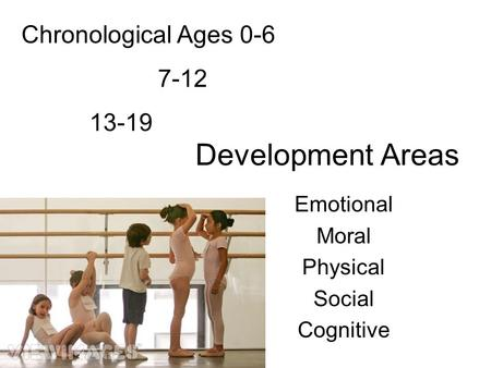 Development Areas Emotional Moral Physical Social Cognitive Chronological Ages 0-6 7-12 13-19.