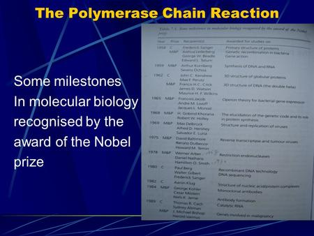 The Polymerase Chain Reaction Some milestones In molecular biology recognised by the award of the Nobel prize.