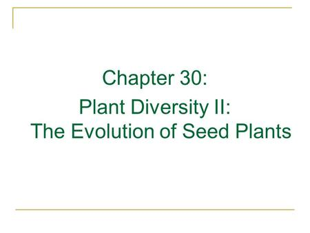 Chapter 30: Plant Diversity II: The Evolution of Seed Plants.
