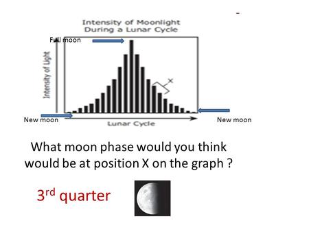 What moon phase would you think would be at position X on the graph ?
