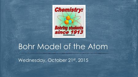 Wednesday, October 21 st, 2015 Bohr Model of the Atom.