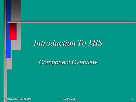 INTRODUCTION to MIS 12/24/20151 Introduction To MIS Component Overview.