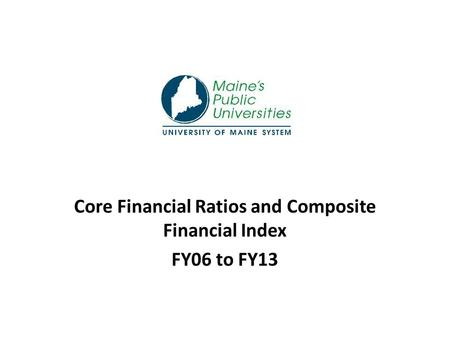 Core Financial Ratios and Composite Financial Index FY06 to FY13.