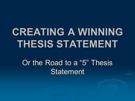 thesis statement for winning the lottery