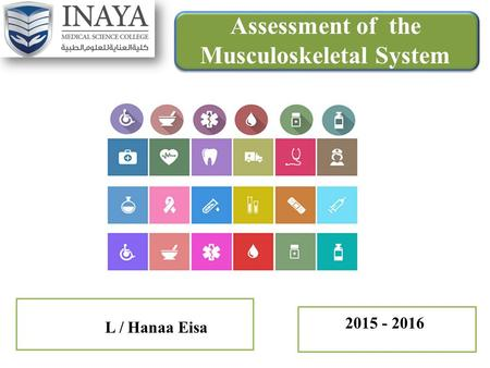 Assessment of the Musculoskeletal System L / Hanaa Eisa 2015 - 2016.