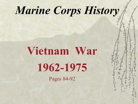 Marine Corps History Vietnam War 1962-1975 Pages 84-92.