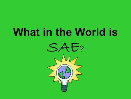 What in the World is SAE ?. …agriculture is much more than farming!! There are many opportunities in the world of agriculture.