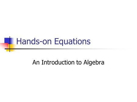 An Introduction to Algebra