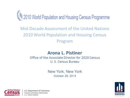 Mid-Decade Assessment of the United Nations 2010 World Population and Housing Census Program Arona L. Pistiner Office of the Associate Director for 2020.