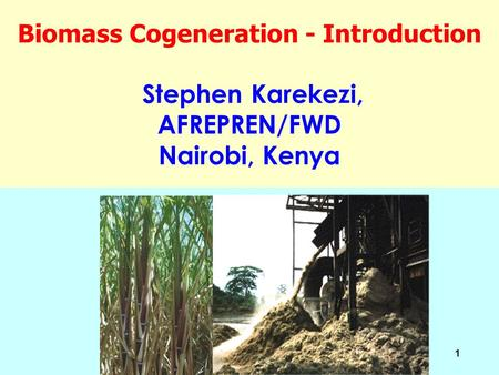 1 Biomass Cogeneration - Introduction Stephen Karekezi, AFREPREN/FWD Nairobi, Kenya.