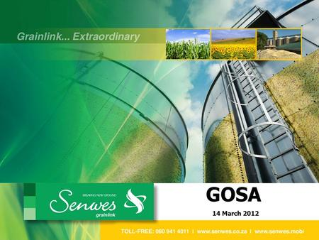 GOSA 14 March 2012. SA GRAIN ECONOMIC PERSPECTIVE PRESENTATION TOPICS 1.AGRICULTURE IN PERSPECTIVE 3.OUTLOOK FOR 2012 / 13 2. TRENDS IN THE GRAIN INDUSTRY.