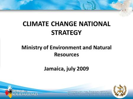 CLIMATE CHANGE NATIONAL STRATEGY Ministry of Environment and Natural Resources Jamaica, july 2009.