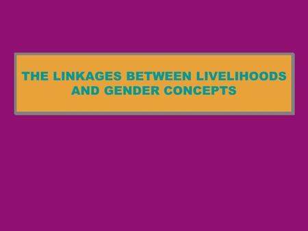 THE LINKAGES BETWEEN LIVELIHOODS AND GENDER CONCEPTS.