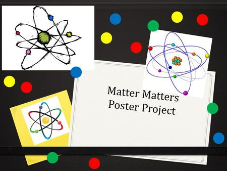 Matter Matters Poster Project. Objectives 0 Students will explain that atoms are the smallest unit of an element and are composed of subatomic particles.
