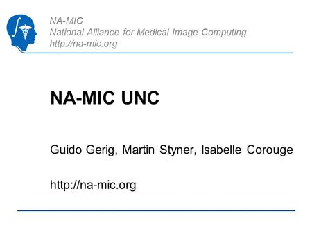 NA-MIC National Alliance for Medical Image Computing  NA-MIC UNC Guido Gerig, Martin Styner, Isabelle Corouge