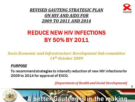 A better Gauteng is in the making PURPOSE To recommend strategies to intensify reduction of new HIV infections for 2009 to 2014 for approval of EXCO. [Department.