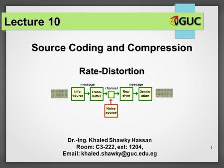 1 Source Coding and Compression Dr.-Ing. Khaled Shawky Hassan Room: C3-222, ext: 1204,   Lecture 10 Rate-Distortion.