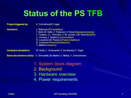 A.Blas APC meeting 12/5/2005 1 Status of the PS TFB Project triggered by: K. Schindl and R. Cappi Hardware: J. Belleman (PU amplifiers) T. Bohl, W. Hofle,