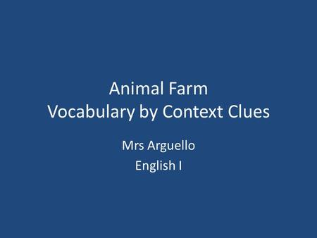 Animal Farm Vocabulary by Context Clues