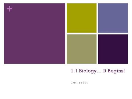 + 1.1 Biology… It Begins! Chp 1, pg 2-31. + Why is biology important? Questions you've asked yourself? Why can birds fly? How do I work? What makes me.