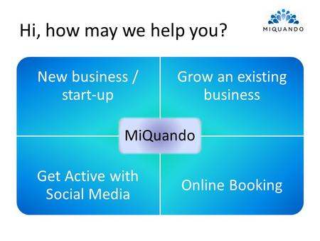 Hi, how may we help you? New business / start-up Grow an existing business Get Active with Social Media Online Booking MiQuando.