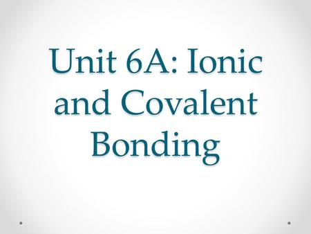 Unit 6A: Ionic and Covalent Bonding. Ions Why do elements in the same group behave similarly? They have the same number of valence electrons. Valence.