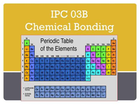 IPC 03B Chemical Bonding. Number of Valence Electrons Valence Electrons: Are electrons in the highest energy level. The noble gases have 8 electrons.