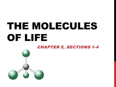 THE MOLECULES OF LIFE CHAPTER 5, SECTIONS 1-4. Living things are composed of ORGANIC molecules which contain the element CARBON (INORGANIC compounds do.