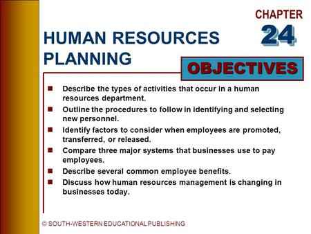 CHAPTER OBJECTIVES © SOUTH-WESTERN EDUCATIONAL PUBLISHING HUMAN RESOURCES PLANNING nDescribe the types of activities that occur in a human resources department.