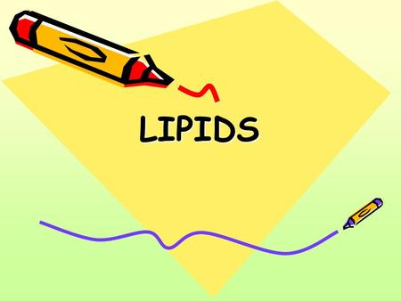 LIPIDS. A water insoluble compounds, but soluble in ether, benzena, acetone and chloroform Consists of glicerol & 3 fatty acids. Forms: solid lipid liquid.