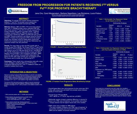 FREEDOM FROM PROGRESSION FOR PATIENTS RECEIVING I 125 VERSUS Pd 103 FOR PROSTATE BRACHYTHERAPY Jane Cho, Carol Morgenstern, Barbara Napolitano, Lee Richstone,