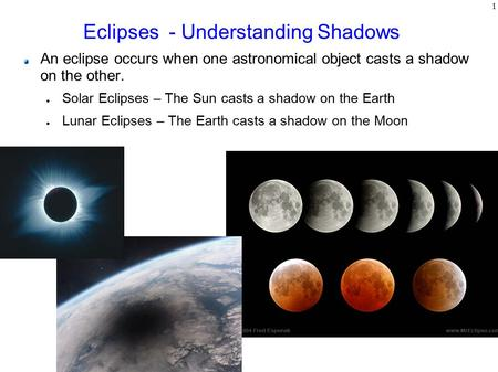 1 Eclipses - Understanding Shadows An eclipse occurs when one astronomical object casts a shadow on the other. ● Solar Eclipses – The Sun casts a shadow.