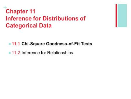 + Chapter 11 Inference for Distributions of Categorical Data 11.1Chi-Square Goodness-of-Fit Tests 11.2Inference for Relationships.