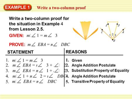 EXAMPLE 1 Write a two-column proof Write a two-column proof for the situation in Example 4 from Lesson 2.5. GIVEN: m  1 = m  3 PROVE: m 