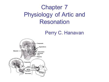 Chapter 7 Physiology of Artic and Resonation Perry C. Hanavan.