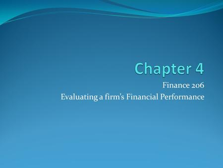 Finance 206 Evaluating a firm's Financial Performance.