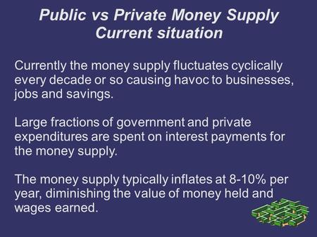 Public vs Private Money Supply Current situation Currently the money supply fluctuates cyclically every decade or so causing havoc to businesses, jobs.