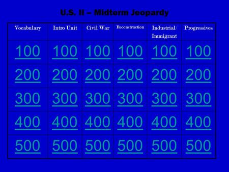 U.S. II – Midterm Jeopardy VocabularyIntro UnitCivil War Reconstruction Industrial/ Immigrant Progressives 100 200 300 400 500.